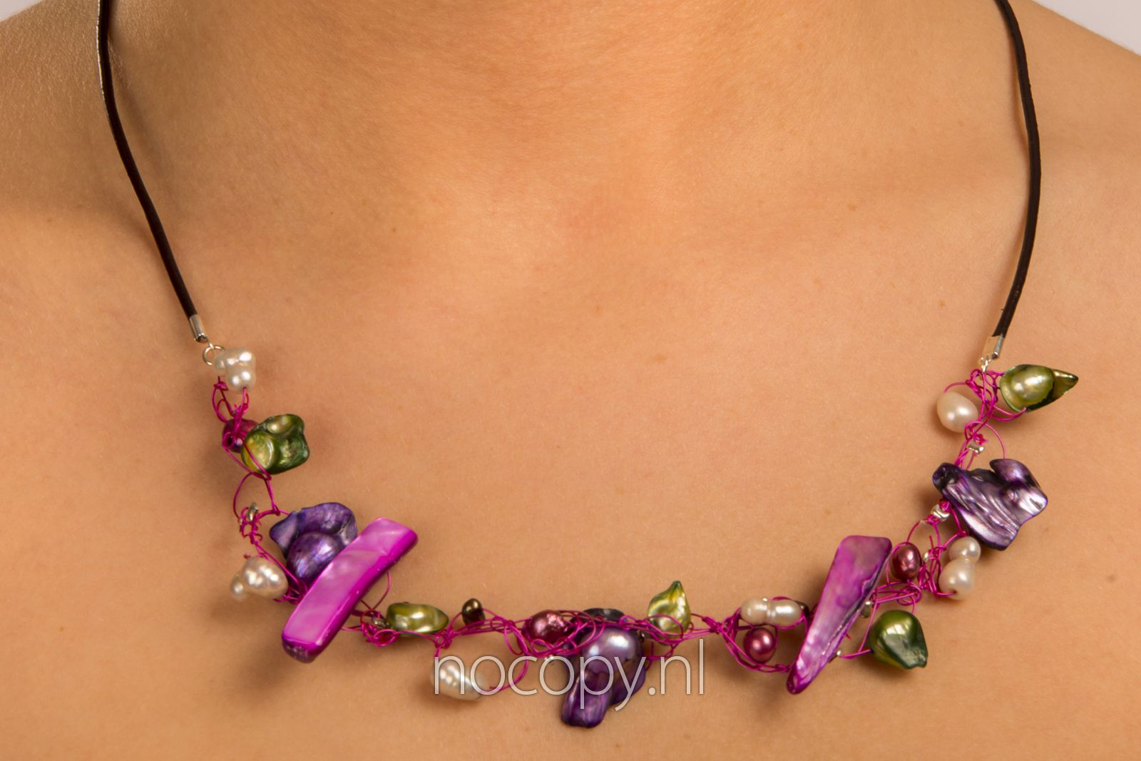 Ketting Purple stones en parels