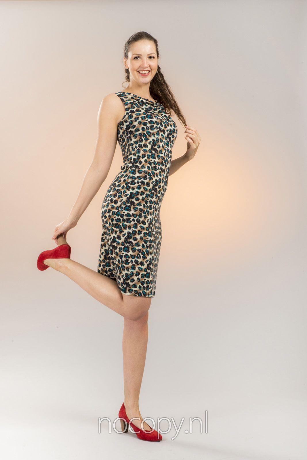 Green spots elegante jurk
