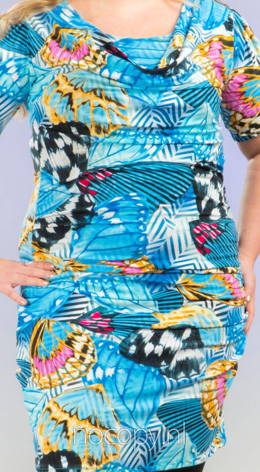 Blauwe ice butterfly jurk