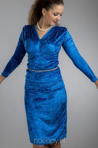 Rich blauwe jurk van fluweel