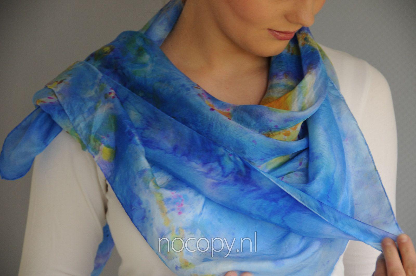 Galaxy blauwe zijde sjaal
